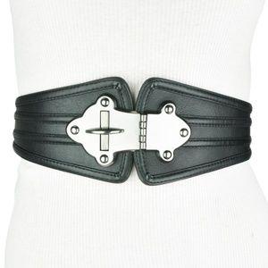 BCBG • Black Leather Wide Turn Lock Belt